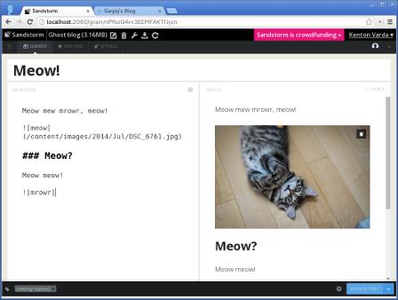 Ghost editor screenshot.