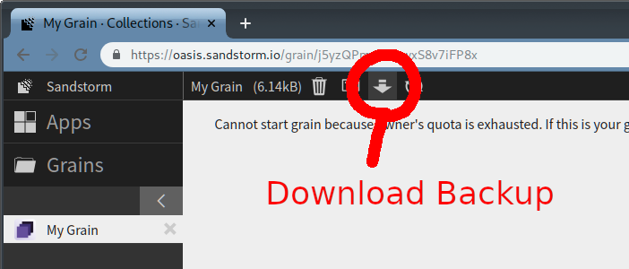 screenshot of download backup button