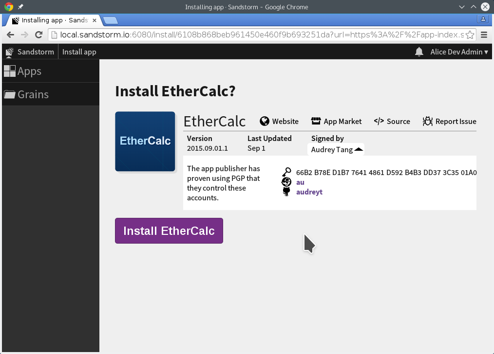 Installing EtherCalc